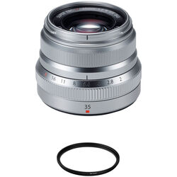 FUJIFILM XF 35mm f/2 R WR Lens with UV Filter Kit (Silver)