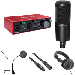 Focusrite Scarlett 1-Person Podcasting Kit with 2i2 Gen 3 USB Interface, Audio-Technica Microphone, and Recording Accessories