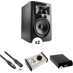 JBL 305P MkII - Studio Monitor Kit with Passive Monitor Controller, Speaker Pads, and Cables