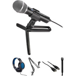 Audio-Technica Consumer ATR2100x-USB Cardioid Dynamic USB/XLR Microphone Broadcasting Kit