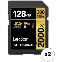 Lexar 128GB Professional 2000x UHS-II SDXC Memory Card Kit with SD Card Reader (2-Pack)