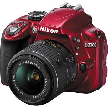 Nikon D3300 DSLR Camera with 18-55mm Lens (Red)