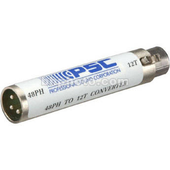 PSC A4812 48V Phantom to 12T Power In-Line Barrel Adapter for Microphones