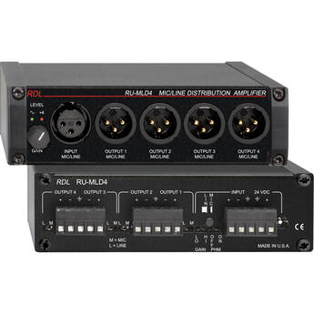 RDL RU-MLD4 - 1x4 Mic/Line Distribution Amplifier