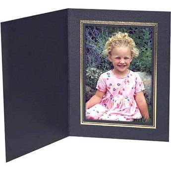 "Collector's Gallery Black Classic Portrait Folder with Gold Foil Border for 4 x 6"" Print , Model PF5500-46  (Portrait Format) - 25 Folders"