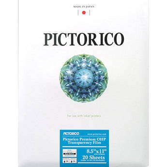 """Pictorico TPU-100 Premium OHP Transparency Film for Inkjet (8.5 x 11"""", Letter, 20 Sheets)"""