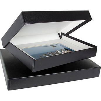 """Archival Methods Onyx Portfolio Box (8.5 x 11 x 1.4"""", Black Buckram with White Interior)"""