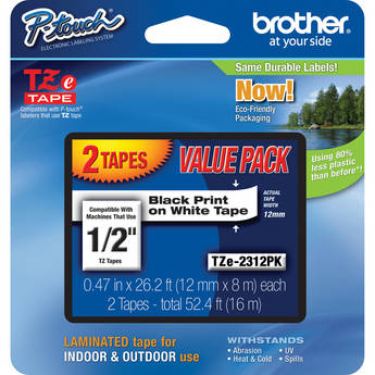 """Brother TZe231 Laminated Tape for P-Touch Labelers 2-Pack (Black on White, 1/2"""" x 26.2')"""