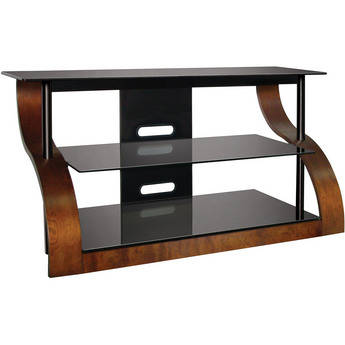 Bell'O Curved Wood A/V Furniture in Vibrant Espresso Finish