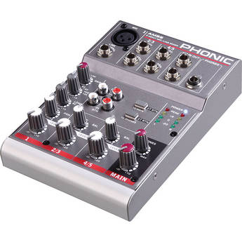 Phonic AM 55 Compact 1-Mono and 2-Stereo Channels Analog Mixer