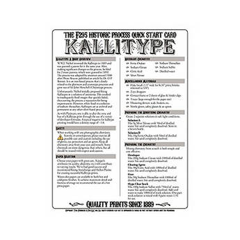 F295 Historic Process Laminated Reference Card for Kallitype Processing