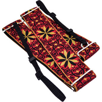 """Souldier Dresden Star 2"""" Camera Strap (12 Point Flower, Filigree in Mustard and Black on Red Background)"""