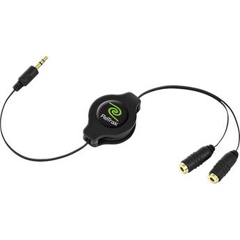 ReTrak Retractable Black Headphone Splitter (3.2')