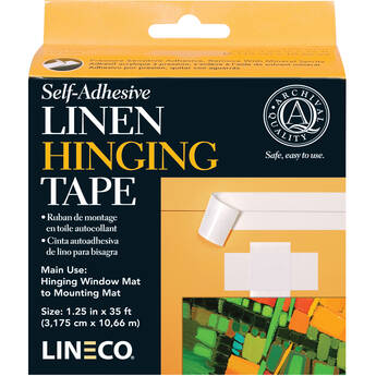 "Lineco Self-Adhesive Linen Hinging Tape (White, 1.25"" x 35')"