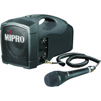 MIPRO MA-101C 45W Portable PA System with MM-107 Dynamic Wired Microphone and Rechargeable Battery