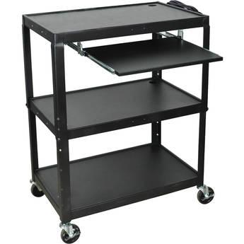 Luxor AVJ42XLKB Steel Adjustable Height Extra Large AV Cart with Keyboard Shelf - Black