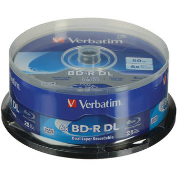 Verbatim BD-R Blu-ray DL 50GB 6x with Branded Surface Disc (Spindle Pack of 25)