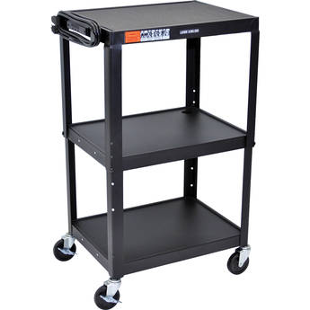 Luxor Steel Adjustable Height AV Cart with Three Shelves (Black)