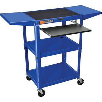 Luxor Adjustable Height Steel A/V Cart with Keyboard Shelf and Drop Leaf Shelves (Blue)