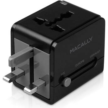 Macally Universal Power Plug Adapter with USB Charger (Black)