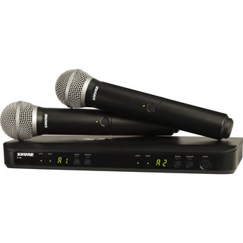 Shure BLX288/PG58 Dual-Channel Wireless Handheld Microphone System with PG58 Capsules (H10: 542 to 572 MHz)