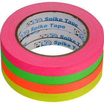 """ProTapes Pro Spike Stack Fluorescent Cloth Tape Set (Four 1/2"""" x 60' Rolls)"""