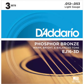 D'Addario EJ16-3D Light Phosphor Bronze Multi-Pack Acoustic Guitar Strings (6-String Set, 12 - 53, 3-Pack)
