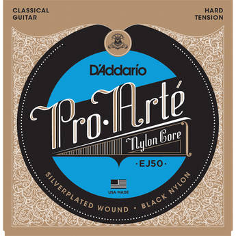 D'Addario EJ50 Hard Tension Pro-Arte Black Nylon Classical Guitar Strings (6-String Set, Black Nylon 28.5 - 44)