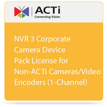 ACTi NVR 3 Corporate Camera Device Pack License for Non-ACTi Cameras/Video Encoders (1-Channel)
