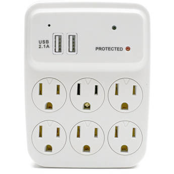 Bush Baby 6-Outlet Power Adapter with Covert 1080p Wi-Fi Camera (White)