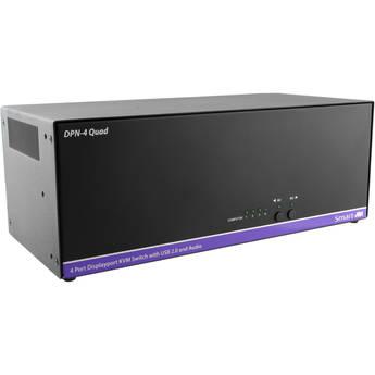 Smart-AVI 4-Port Quad-Head DisplayPort KVM Switch with USB 2.0 Hub and Audio