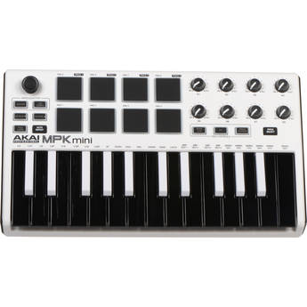 Akai Professional MPK Mini MKII Compact Keyboard and Pad Controller (White on Black)
