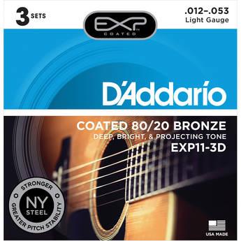 D'Addario EXP11 Light Coated 80/20 Bronze Acoustic Guitar Strings (6-String Set, 12 - 53, 3-Pack)