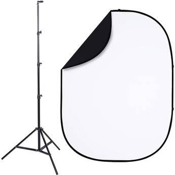 Studio Essentials Pop-Up ReversibleBackground Kit (5 x 6.5', Black/White)