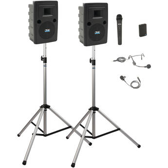 Anchor Audio LIB-DP2-AIR-HB Liberty Deluxe AIR Package 2 - Portable Bluetooth PA System with AIR Transmitter, Bodypack & Wireless Handheld Microphone Transmitters, Wireless Companion Speaker, and Speaker Stands (1 x Lavalier Mic, 1 x Headset Mic, 1.9 GHz)
