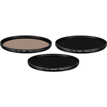 Ice 77mm ND8, ND64, and ND1000 Solid Neutral Density Filter Kit (3, 6, and 10 Stops)