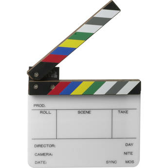 Birns & Sawyer 425004 Acrylic Production Insert Slate, 4x5 Inches with Color Clapper Sticks