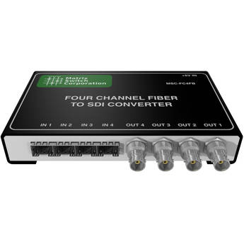 Matrix Switch 4-Channel Fiber to SDI Converter (SFP Modules Not Included)