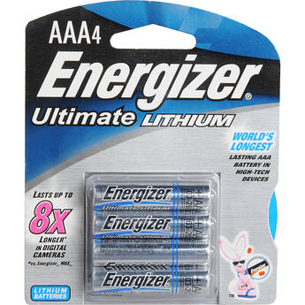 Energizer Ultimate Lithium AAA Batteries (1.5V, 1200mAh, 4-Pack)