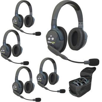 Eartec UL5D 5-Person Full-Duplex Wireless Intercom with 5 UltraLITE Dual-Ear Headsets