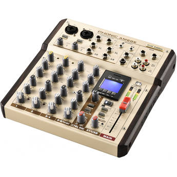 Phonic AM6GE - AM Gold Edition Compact Mixer with Bluetooth, TF Recorder, and USB Interface