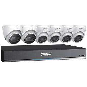 Dahua Technology Pro Series Pentabrid 8-Channel 8MP HD-CVI DVR with 3TB HDD and 4 5MP Turret Cameras and 2 8MP Turret Cameras