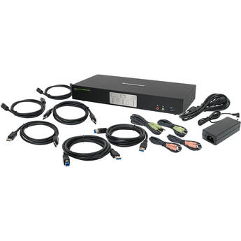 IOGEAR 2-Port 4K Dual View DisplayPort KVMP Switch with USB 3.0 Hub and Audio