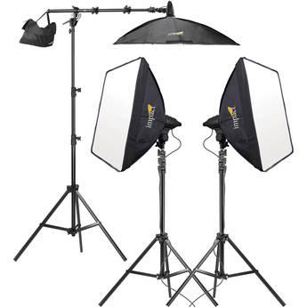 Impact 3-Head Fluorescent Lighting Kit with Boom Arm Kit