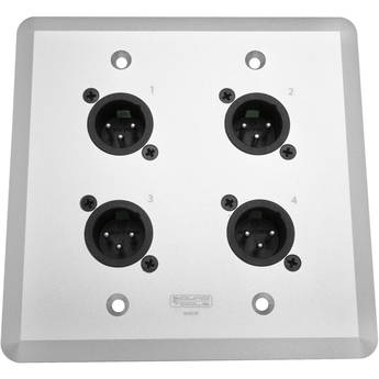 SoundTools WallCAT MX-S Wall Plate with Four XLR 3-Pin Male Connectors (Silver)