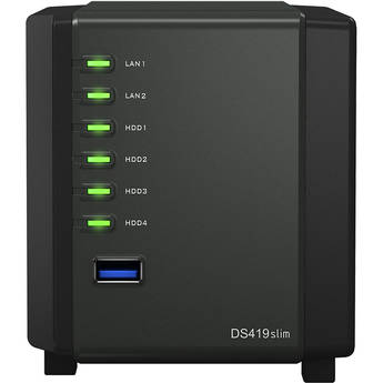 Synology Diskstation Ds419slim 4 Bay Nas Enclosure Ds419slim B H