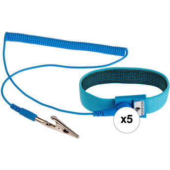 Pearstone Anti-Static Wrist Strap (6', Blue, 5-Pack)