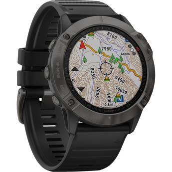 Garmin fenix 6X Multisport GPS Smartwatch (51mm, Sapphire, Carbon Gray DLC / Black Band)