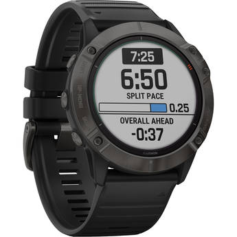 Garmin fenix 6X Multisport GPS Smartwatch (51mm, Pro Solar, Titanium Carbon Gray DLC / Black Band)