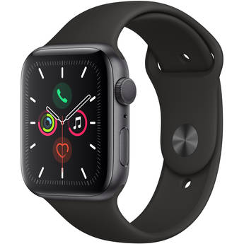 Apple Watch Series 5 (GPS Only, 44mm, Space Gray Aluminum, Black Sport Band)